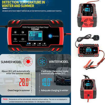 8A 12V/24V Car Battery Charger Jump Starter Motorcycle Intelligent Pulse Repair