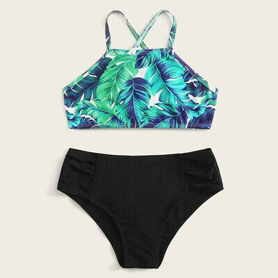 Tropical Printed Tie Cross Bikini Set Swimsuit Two Pieces Swimwear Bath Suit