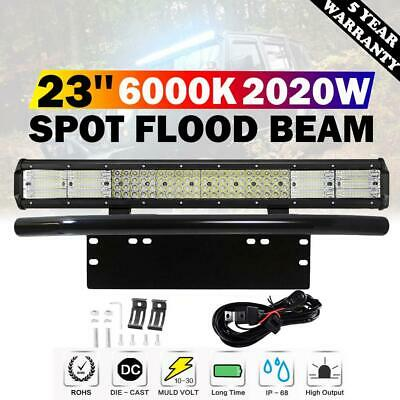 23inch LED Light Bar Quad Row Combo Beam & Number Plate Frame & Wiring