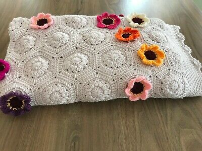 Handmade knitted/ crochet granny crochet blanket/throw