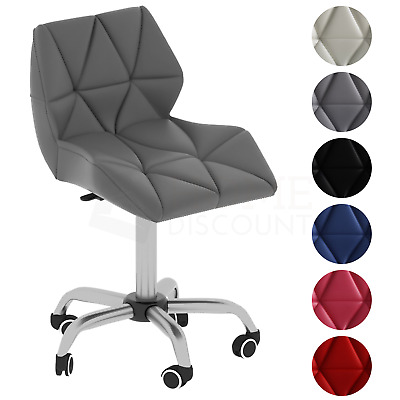 Computer Office Chair Cushioned Home Swivel Leather Chrome Small Adjustable Desk