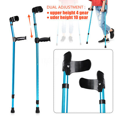 Luxury Blue 84-116cm Height Adjust Underarm Forearm Elbow Crutch Walking Stick