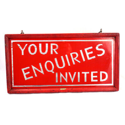 """Retro vintage mirrored shop sign """"Your Enquiries Invited"""""""