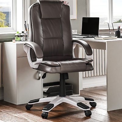Executive Office Chair Gaming Computer Home Swivel Leather Adjustable Desk Brown