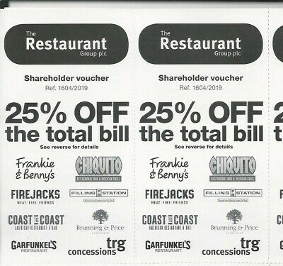 25% Off Frankie Benny's/Chiquito/Garfunkels/Firejacks Voucher Up To 10 Guests