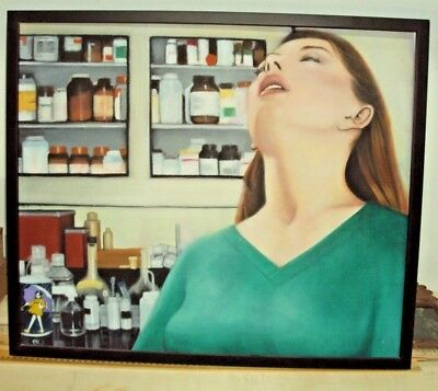 2 paintings nurse erotic woman fine art ek  signed listed medicine hosptial dr.1