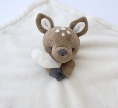 Carters Deer Fawn Security Blanket Cream Brown Plush Velour Baby Lovey Rattle