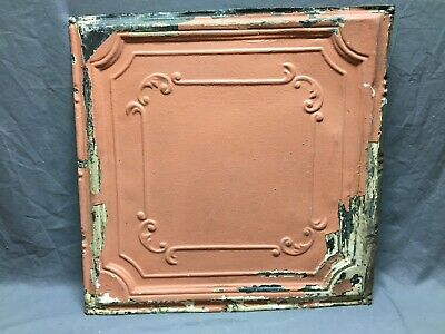 "Antique Decorative Tin Metal Ceiling 2' x 2' Shabby Vtg 24"" SQ Chic Old 13-20B"