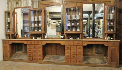 Large 1920s 30s Budapest Barber Shop Piece Shop Display Cabinet Vintage