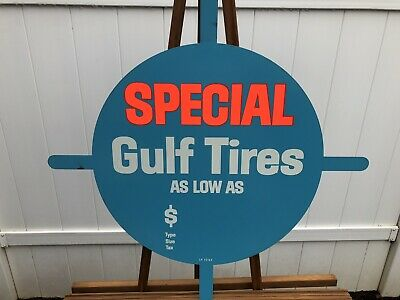 NOS Gulf Tires OIL GAS Tire Metal Insert 1960's Vintage Advertising Never Used