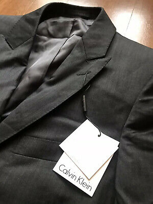Calvin Klein Men's 2 piece Slim-Fit Dark Gray Suit 40R / 33W Flat Pant NWT