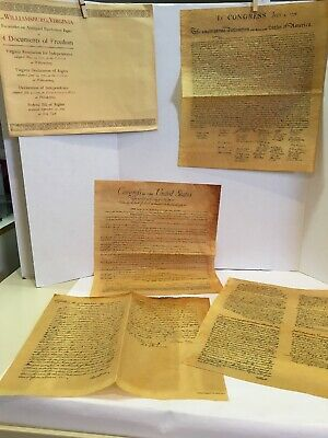 Williamsburg Virginia 4 Documents of Freedom Antiqued Parchment Paper 7/5/1776