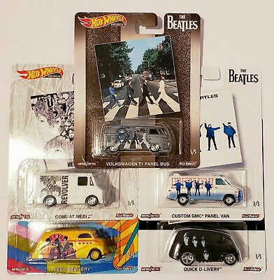HOT WHEELS THE BEATLES 2019 POP CULTURE COMPLETE 5 CAR SET -ROCK n ROLL!