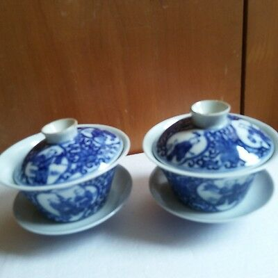 China antique whiter and blue tea porcelain bowl with cover and  saucer pair 瓷 碗