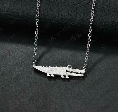 Animal Crocodile Titanium Stainless Steel Silver Alligator Pendant Necklace