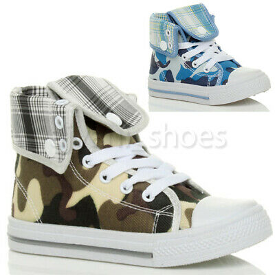 Boys Girls Unisex Kids Lace Up Flat Hi High Top Ankle Trainer Boots Size 5 25