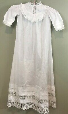 """Antique Yoked Lace Pin Tucked Beautiful Christening Gown~ 38"""""""