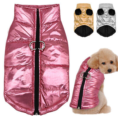 Clothes for French Bulldogs Boy Girl Waterproof Coat Winter Jacket Silver Pink