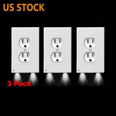 3 Pack Outlet Wall Plate Led Night Lights Cover Duplex With Ambient Light Sensor