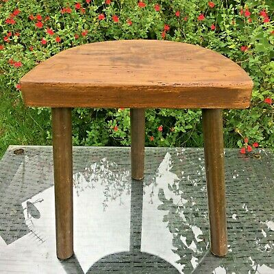 LARGE ANTIQUE French OAK Milking Stool 3 Leg STOOL Rustic Charming BUFFERS STOOL