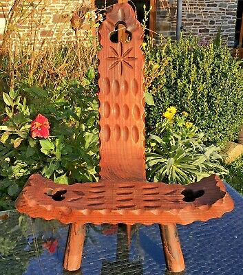 SPINNING CHAIR Stool 3Legs HAND CARVED BRETON STYLE VINTAGE FRENCH ARTS & CRAFTS