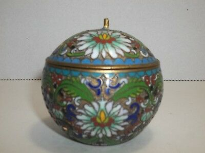 Antique Chinese Enamel CLOISONNE Apple Jewelry Trinket Box BRONZE