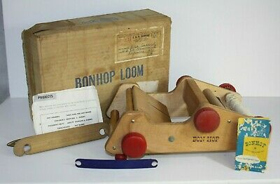 Vintage BONHOP Wooden Weaving Loom Toy Preschool w Box Original Weave