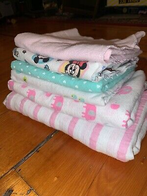 Baby Girl Receiving Blankets Burp Cloths Flannel Cloth 6 Pink Full Size Carters