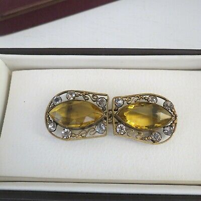 Vintage Czechoslovakia brass wire buckle set with clear & large yellow stones