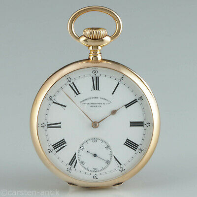56mm Patek Philippe & Cie. Genève Chronometro Gondolo 18k Gold Pocket Watch 1905