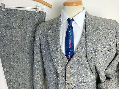 Vtg 50s Alexandre DONEGAL TWEED 3pc Suit 38 L jacket Pants FLECK Ivy Style TRAD