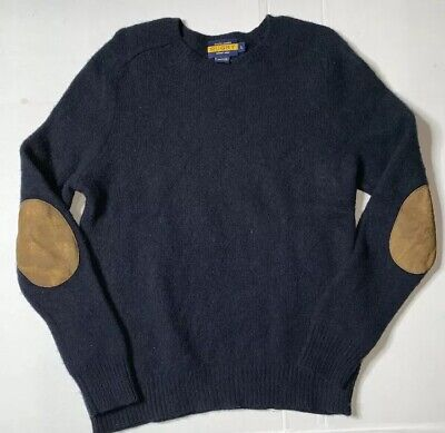 Preowned- Ralph Lauren Rugby 100% Wool Sweater W/ Elbow Patches Mens (Size L)