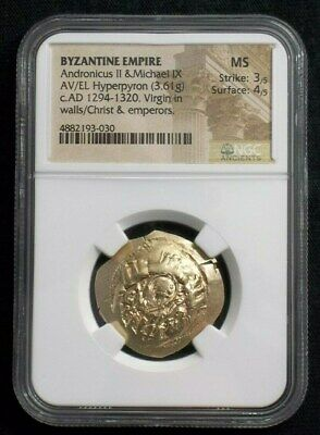 Byzantine Gold Hyperpyron of Emperor Andronicus II & Michael IX  NGC MS 3030
