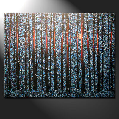 Original Large Oil Painting Canvas Night Forest Winter Moon Light Art GeeBeeArt