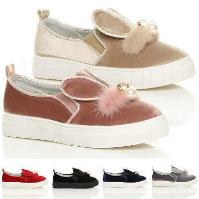 Girls Kids Childrens Velvet Pom Pom Bunny Ears Trainers Pumps Plimsolls Shoes