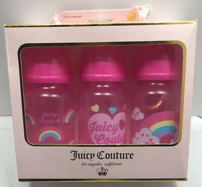 Juicy Couture Baby Bottles Pink Rainbow Hearts 3 Pack Infant Toddler New Logo