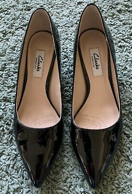 Clarks Narrative Black Patent Leather Low Stilettoes Shoes UK 3 35.5 Smart Party