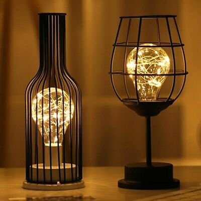 LED Retro Bulb Iron Table Winebottle Copper Wire Night Light Creative Hotel Home