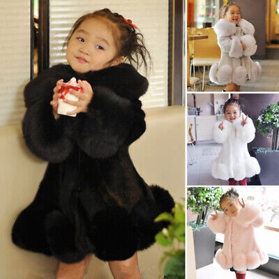 Kids Childrens Girls Winter Faux Fur Coat Cardigan Thick Warm Parka Overcoat