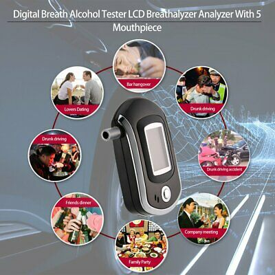 LCD Digital Police Breath Alcohol Tester Breathalyzer Analyzer Detector Box *UK