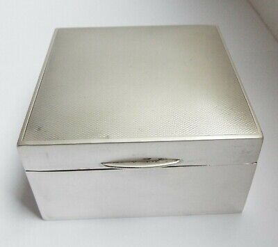 Nice English Antique 1951 Solid Sterling Silver Table Cigarette Jewellery Box