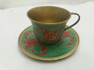 Vintage Ornate Brass Cup And Saucer Enamelled Red and Green Flower Pattern