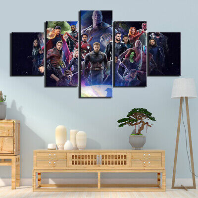 5 Panel Framed Marvel Avengers Super Hero Modern Decor Canvas Wall Art HD Print