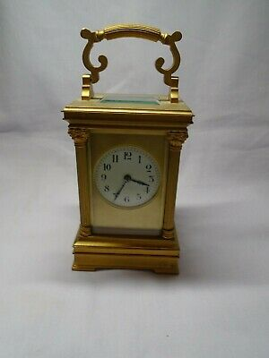 FRENCH STRIKING CARRIAGE CLOCK IN GOOD WORKING ORDER + KEY c1890