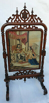 Antique, William Iv, Large Rosewood Tapestry Firescreen, Circa 1830