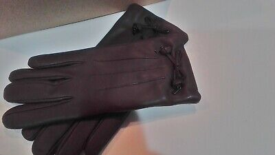 COACH Women's Bow Leather Wool Lined Gloves  Oxblood  Sz 7 -NWT