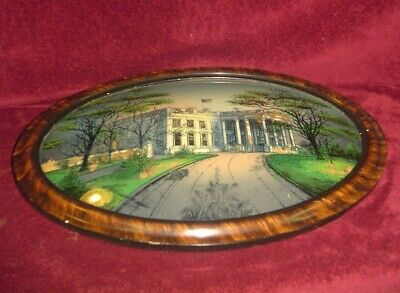 Vintage Oval Tiger Stripe Picture Frame Convex Glass Foil White House 22x16