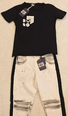 2pc Great Fun Outfit Boys 15 Y/o Black Tshirt White Messy Look Jeans RRP £129