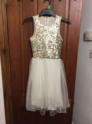 GOLD PARTY DRESS 9-10 Yrs ABERCROMBIE KIDS Cream Tulle Sequinned Dipped Hem