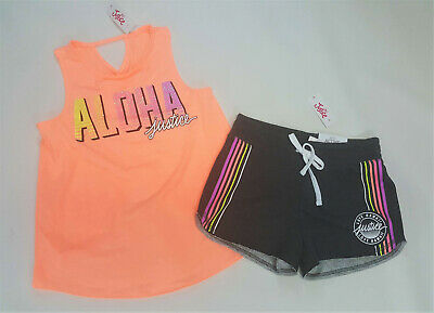 NWT Justice Girls Outfit Size 10 or 14/16 Orange Tulip Back Tank Top Gray Shorts